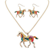 Plated Gold Silver Silver Fashion Necklace Earring A Set Enamel Horse Jewelry