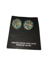 Clip Earrings Beautiful! On Card Vintage Zuni Silver Turquoise Petit Point