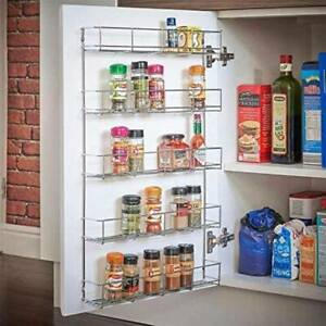 5 Tier Metal Spice & Herb Rack-Wall Mounted or Kitchen Cupboard Door Storage UK
