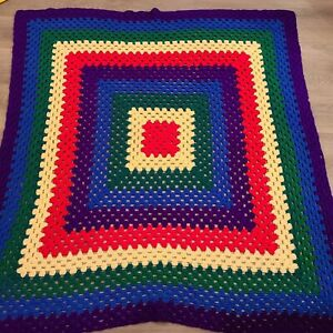 Crochet Colorful Blue Green Red Yellow Afghan Blanket Throw Couch 51 x 48 Hand