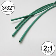 "3/32"" ID Green Heat Shrink Tube 2:1 ratio wrap (6x9"" = 4 ft) inch/feet/to 2.5mm"