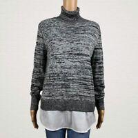 DKNY DKNYC Layer Look Turtleneck Sweater Shirt MEDIUM Gray Black Marled Knit