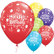 """""""Happy Birthday to You"""" Latex Balloons, Qualatex Party Decor 11"""" w/ Music Notes"""