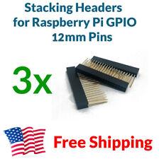3X Raspberry Pi Stacking Gpio Header 2x20 40P 40-pin 2.54 Female Extra Long Pins