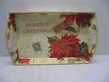 Rectangular Serving Tray Seasons Greetings Letters Stamps & Poinsettias Metal
