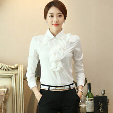 Lady Chiffon Office Blouse Frill Drape Ruffles Trim Shirts Tops Long Sleeve Slim