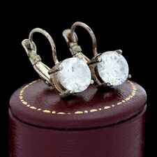 Antique Vintage Deco Mid Century Style Sterling Silver Cubic Zirconia Earrings