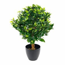Indoor Outdoor Potted Artificial Medium 65cm Ficus Ball Plant Tree + Black Pot