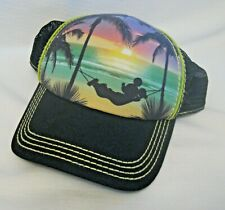 Disney Parks Mickey Mouse Mesh Baseball Cap Hat Mickey Laying in Hammock Sunset