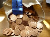 BULK PACK OF 1966 UNCIRCULATED HALFPENNIES A PACK OF 50 COINS, SOME TONING.