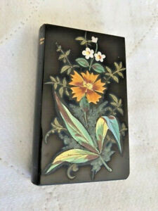 Antiques,Glass,Perfume Bottle, Book Form,Black Glass w/Flowers,1890-1910, France