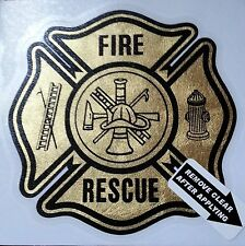 "Fire Rescue, Firefighter, Gold Coburn Decal, 3.25"" wide  #FD72"