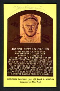 Joe Cronin Autographed Signed HOF Plaque Postcard Boston Red Sox 159293