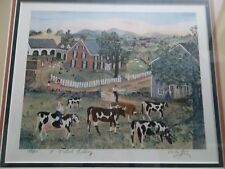 WILL MOSES 5 o'clock milking LIMITED EDITION LITHOGRAPH FRAMED PRINT 184/500 cow