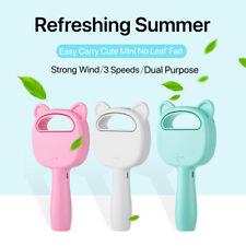 Mini Cute 360° Portable 3 Speeds Cooler USB Rechargeable No Leaf Handy Fan