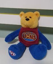BRISBANE LIONS AFL FOOTBALL BEANIE KIDS TOY TEDDY BEAR 3 ON HIS BACK!