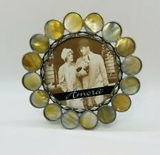 Vintage Round Picture Frame Mother of Pearl Mop Circles Accent - Made in Vietnam