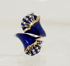 Vintage .20cttw VS/G  18k Gold Enameled Flower By Pass Ring fine Jewelry