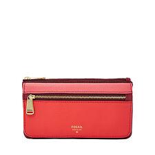 Fossil Original SL7140995 Red Multi Preston Flap Clutch Leather Women's Wallet