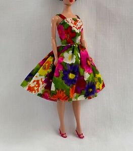 Vintage Doll Clothes BARBIE Handmade Floral Gathered Sundress Rich Colors