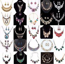 Women Bib Choker Collar Charm Crystal Flower Chain Pendant Statement Necklace