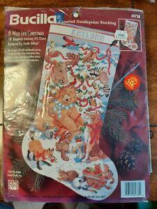 "Bucilla Holiday Needlepoint Stocking Kit a Wild Life Christmas 18 Mesh 60738 18"""