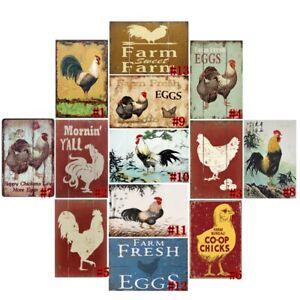 "Retro Metal Tin Signs Vintage Chicks Poster Plate Farm Art Wall Decor 7.8*11.8"""