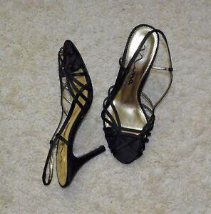 NINA Black Silky Leather Sole  Strappy Shoe Women's Sandal Heels 8 M