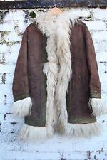 Vintage Real Suede Afghan Fur embroidered 60s 70s penny lane coat jacket S M