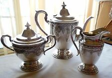 1928 Gorham Silverplate Coffee/Tea Pot Sugar & Creamer Service