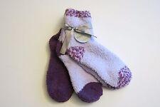 NWT Ellen Tracy 3 Pr Womens Warm Fuzzy Chenille Slipper Socks Purple + Lilac