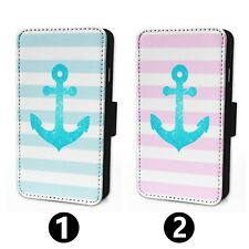 Nautical Anchor Stripes - Flip Phone Case Wallet Cover - Fits Iphone & Samsung