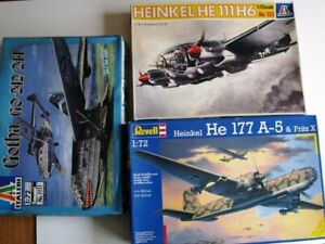 3 X 1/72 GERMAN WWII A/C GOTHA,HE177 AND HE111