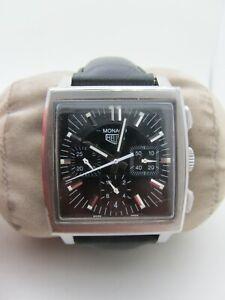 TAG Heuer Monaco CS2111 Heritage Vintage Automatic Chronograph Black Dial Watch