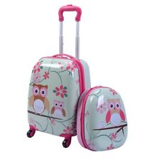 2pc. Children Kid Girl Rolling Carry-on Travel Suitcase Backpack Luggage Bag Set