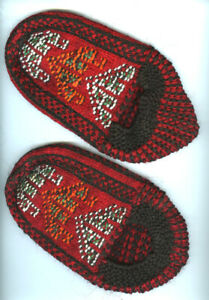 Vintage Mid 20th C Folk Art Knitted Nordic Style Hand Made Slippers, Very Nice