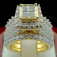 Women Men's 18K Yellow Gold Filled White Sapphire Ring Set Jewelry 6-10