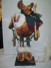 Xmas Christmas Standing Moose with Ski's
