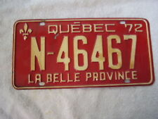 1972  CANADA  QUEBEC  LICENSE PLATE   N-46467