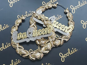 """PERSONALIZED 14K GP 2.5"""" MEDIUM/LARGE XO BAMBOO NAME EARRINGS ANY  NAME up to 9"""
