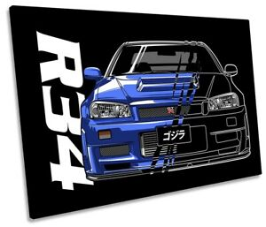 Nissan Skyline GT-R R34 Picture SINGLE CANVAS WALL ART Print Black