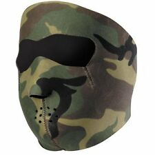 Biker Mask Woodland Camo  Neoprene Full face Mask