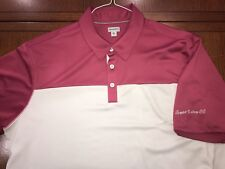 ASHWORTH PINK-GRAY  W/LOGO 100% POLYESTER GOLF SHIRT MINT COND SZ XL