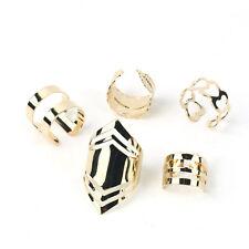 5pcs Set Gold Plated Leaf Fashion Band Adjustable Midi Finger Knuckle Stack Ring