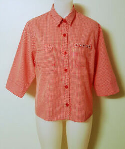 ELLIMAN Womens L Red/White Check Shirt Button Down 3/4 Sleeve Feature Buttons