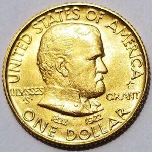 1922 GRANT STAR COMMEMORATIVE GOLD ONE DOLLAR BU CHOICE UNC!