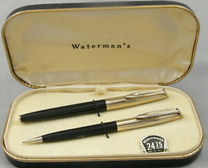 Waterman CF Black w/Gold Cap Fountain Pen & Pencil Set In Box - Unused, 1950's
