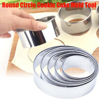 5pcs Stainless Steel Round Mousse Cake Ring Mold Cookie Cutter Baking Tools US