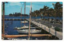 Vintage Florida Chrome Postcard Ft Myers Yacht Basin RARE View Sailboats Palms