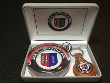 ALPINA / BMW COLLECTORS SET: GLASS PAPERWEIGHT, ALPINA KEY RING & PIN BADGE